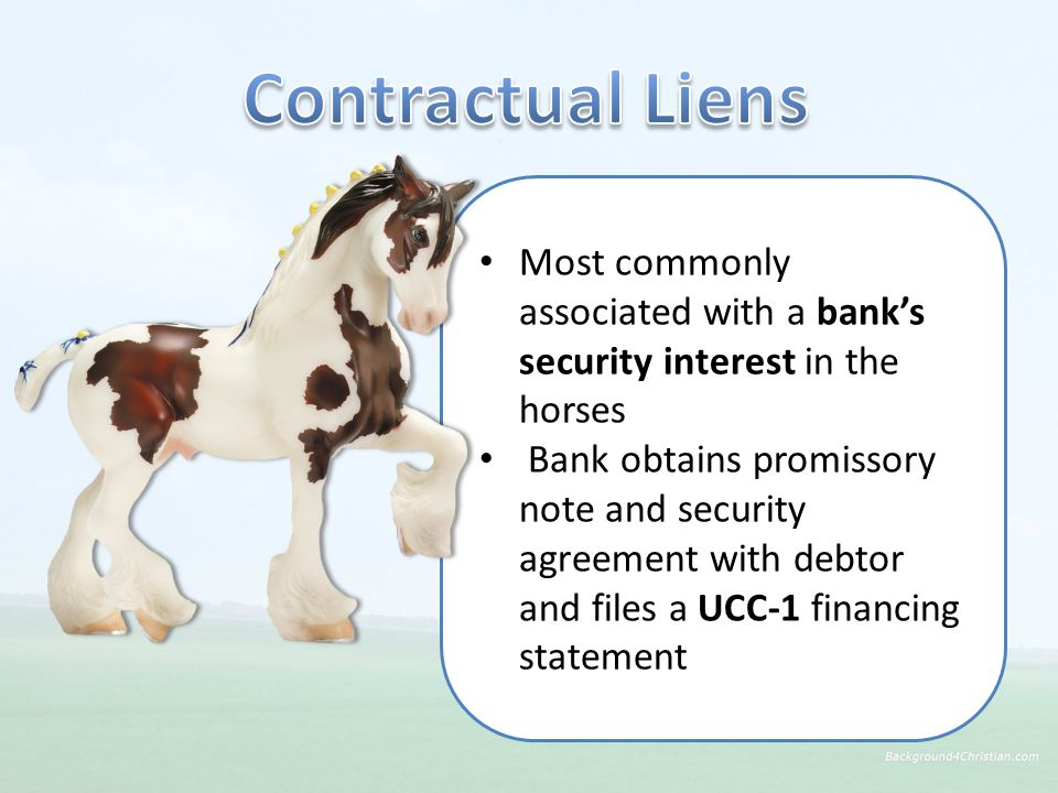 Most commonly associated with a bank's security interest in the horses Bank obtains promissory note and security agreement with debtor and files a UCC-1 financing statement