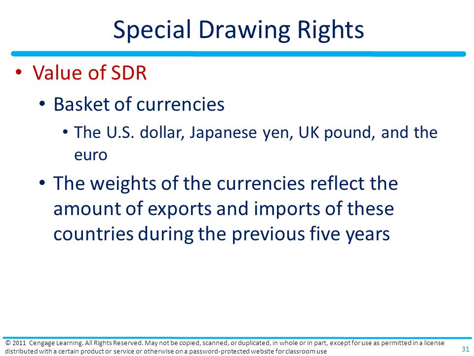 Special Drawing Rights Value of SDR Basket of currencies The U.S.