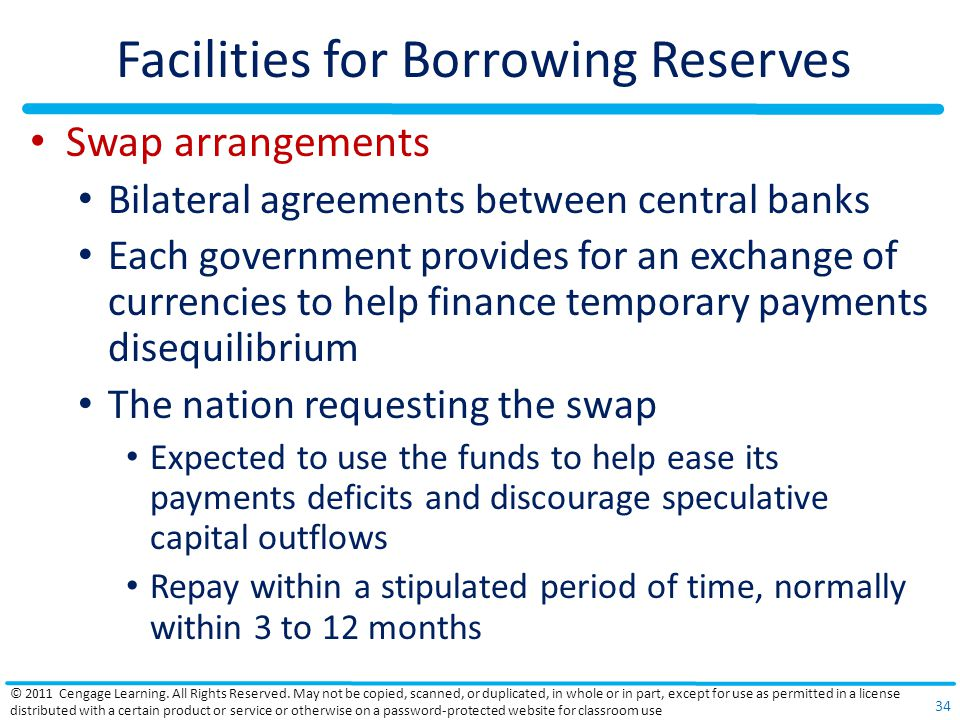 Facilities for Borrowing Reserves Swap arrangements Bilateral agreements between central banks Each government provides for an exchange of currencies to help finance temporary payments disequilibrium The nation requesting the swap Expected to use the funds to help ease its payments deficits and discourage speculative capital outflows Repay within a stipulated period of time, normally within 3 to 12 months © 2011 Cengage Learning.