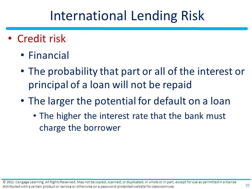 International Lending Risk Credit risk Financial The probability that part or all of the interest or principal of a loan will not be repaid The larger the potential for default on a loan The higher the interest rate that the bank must charge the borrower © 2011 Cengage Learning.