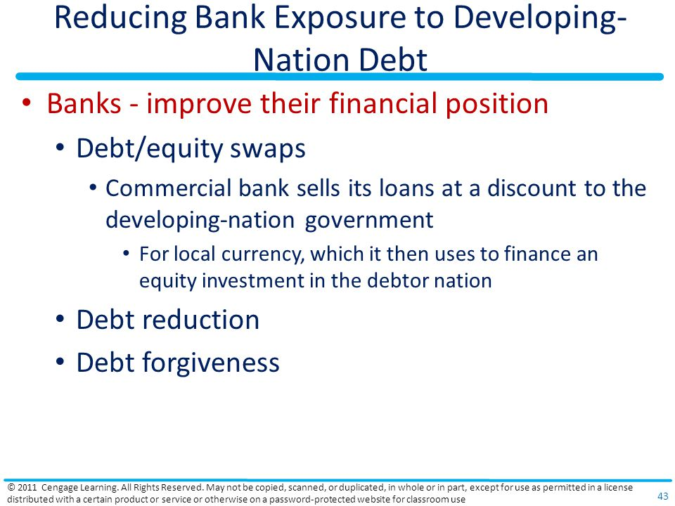 Reducing Bank Exposure to Developing- Nation Debt Banks - improve their financial position Debt/equity swaps Commercial bank sells its loans at a discount to the developing-nation government For local currency, which it then uses to finance an equity investment in the debtor nation Debt reduction Debt forgiveness © 2011 Cengage Learning.