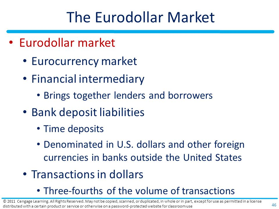 The Eurodollar Market Eurodollar market Eurocurrency market Financial intermediary Brings together lenders and borrowers Bank deposit liabilities Time deposits Denominated in U.S.