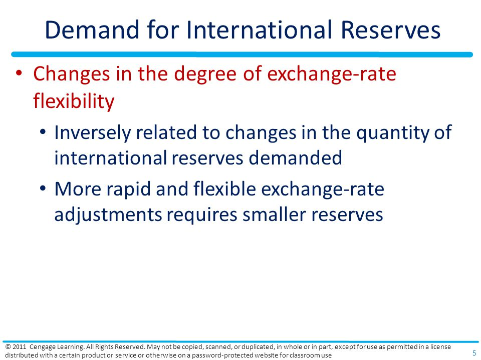 Demand for International Reserves Changes in the degree of exchange-rate flexibility Inversely related to changes in the quantity of international reserves demanded More rapid and flexible exchange-rate adjustments requires smaller reserves © 2011 Cengage Learning.
