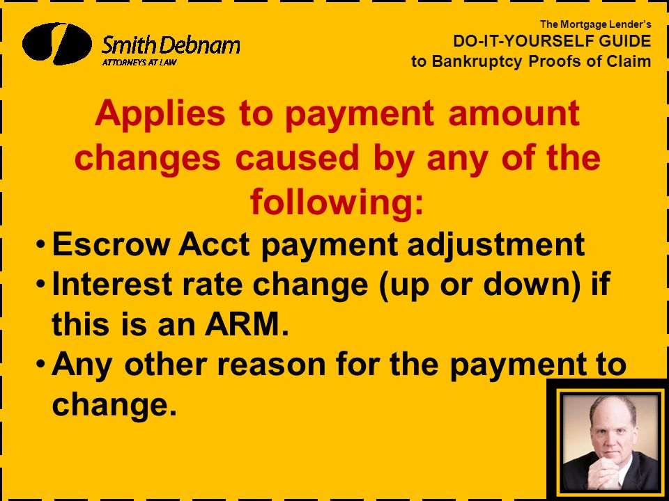 Applies to payment amount changes caused by any of the following: Escrow Acct payment adjustment Interest rate change (up or down) if this is an ARM.