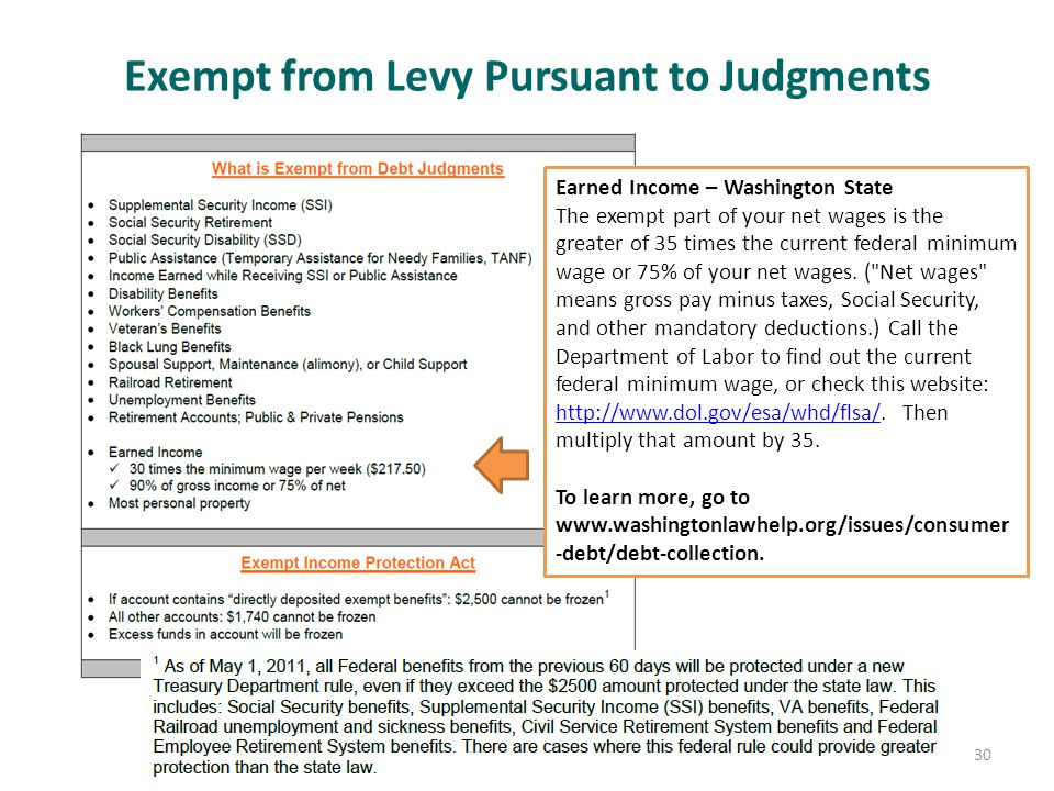 Exempt from Levy Pursuant to Judgments 30 Earned Income – Washington State The exempt part of your net wages is the greater of 35 times the current federal minimum wage or 75% of your net wages.