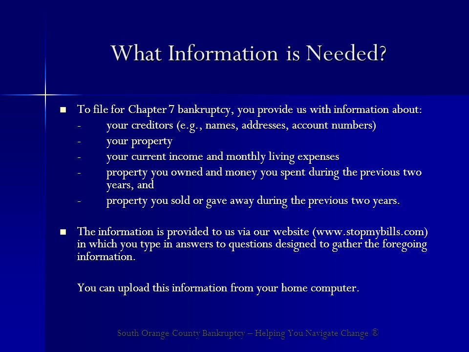 What Information is Needed.
