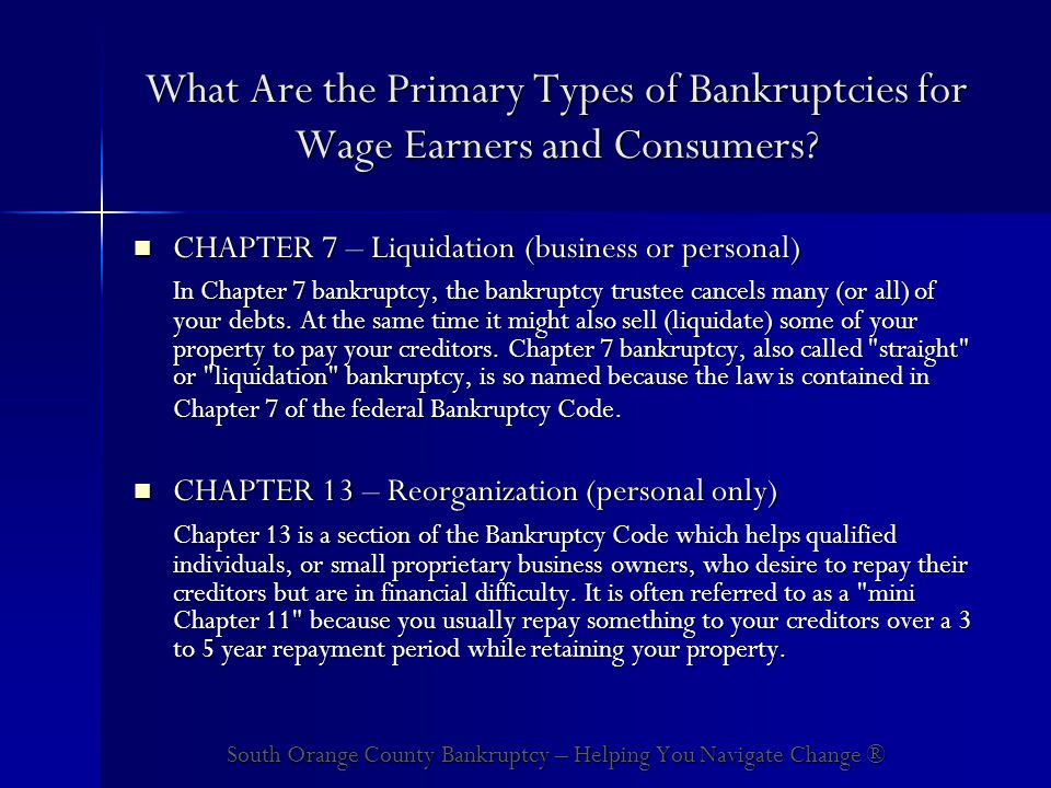 What Are the Primary Types of Bankruptcies for Wage Earners and Consumers.