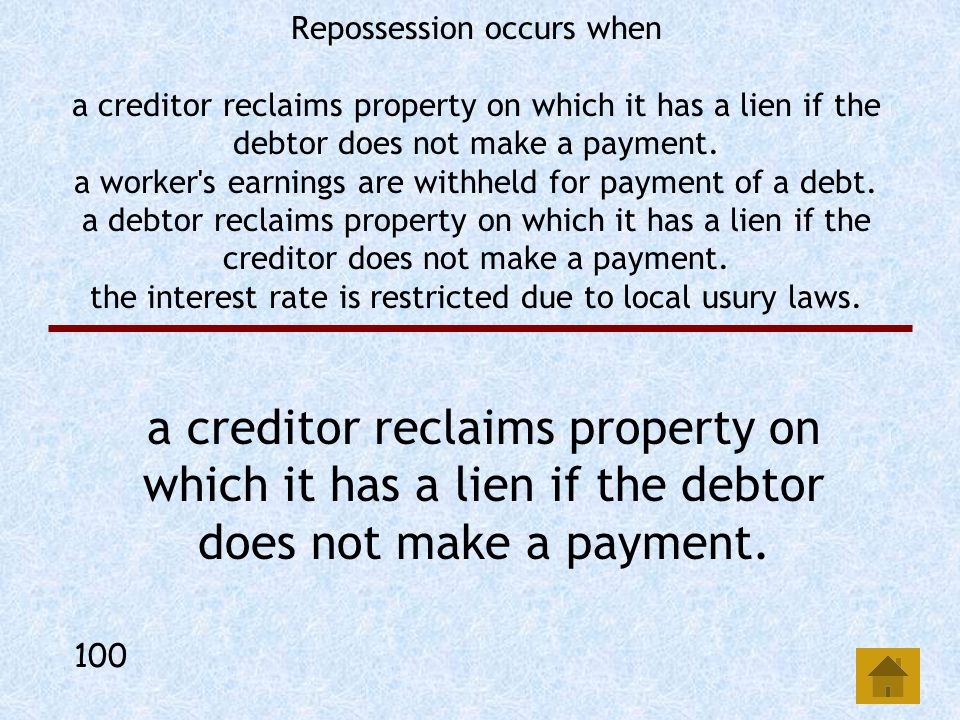 Creditors have access to your collateral if you have closed-end credit. open-ended credit. a secured loan. an unsecured loan. A secured loan. 500