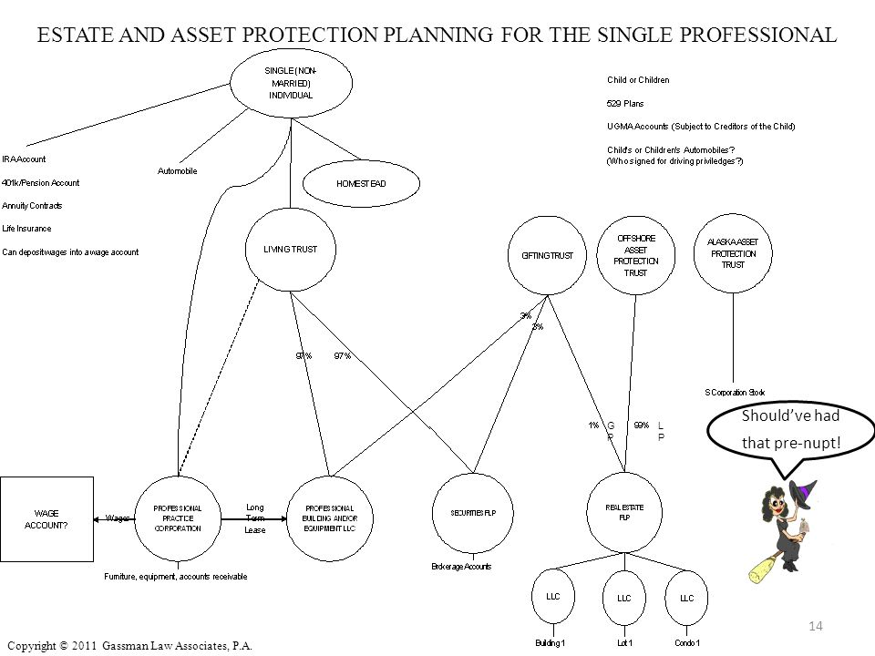 ESTATE AND ASSET PROTECTION PLANNING FOR THE SINGLE PROFESSIONAL 14 Should've had that pre-nupt! GPGP LPLP Copyright © 2011 Gassman Law Associates, P.