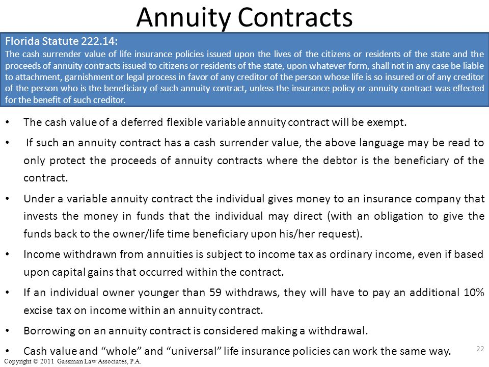 Annuity Contracts The cash value of a deferred flexible variable annuity contract will be exempt. If such an annuity contract has a cash surrender val