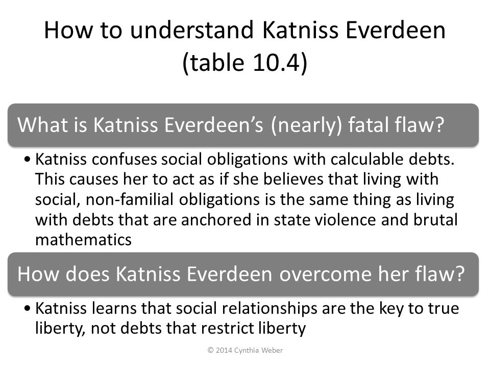 How to understand Katniss Everdeen (table 10.4) What is Katniss Everdeen's (nearly) fatal flaw? Katniss confuses social obligations with calculable de
