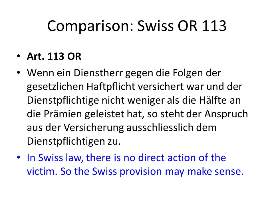 Comparison: Swiss OR 113 Art.