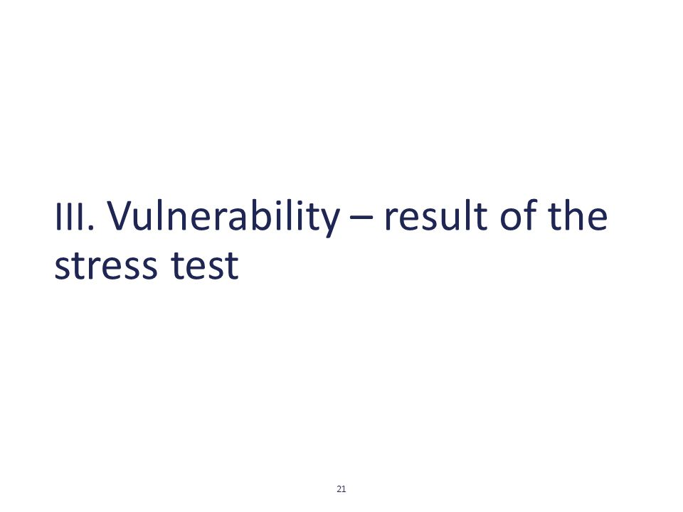 III. Vulnerability – result of the stress test 21