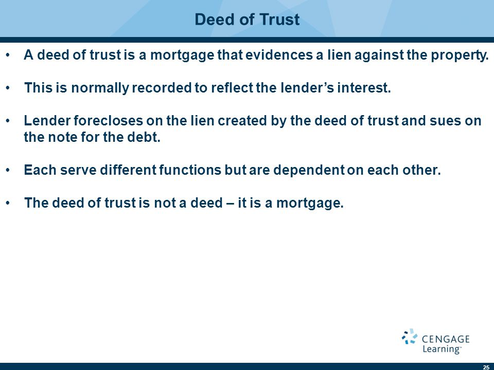 25 Deed of Trust A deed of trust is a mortgage that evidences a lien against the property. This is normally recorded to reflect the lender's interest.