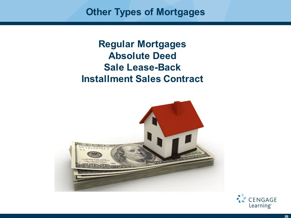 26 Other Types of Mortgages Regular Mortgages Absolute Deed Sale Lease-Back Installment Sales Contract