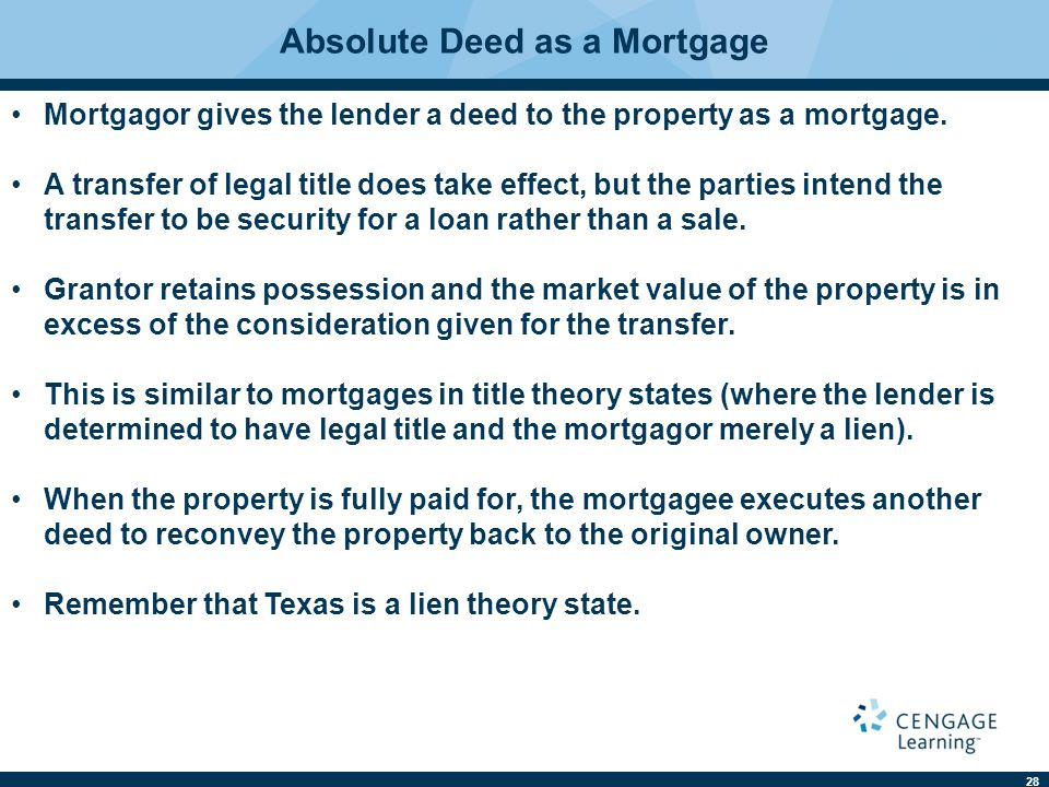 28 Absolute Deed as a Mortgage Mortgagor gives the lender a deed to the property as a mortgage. A transfer of legal title does take effect, but the pa