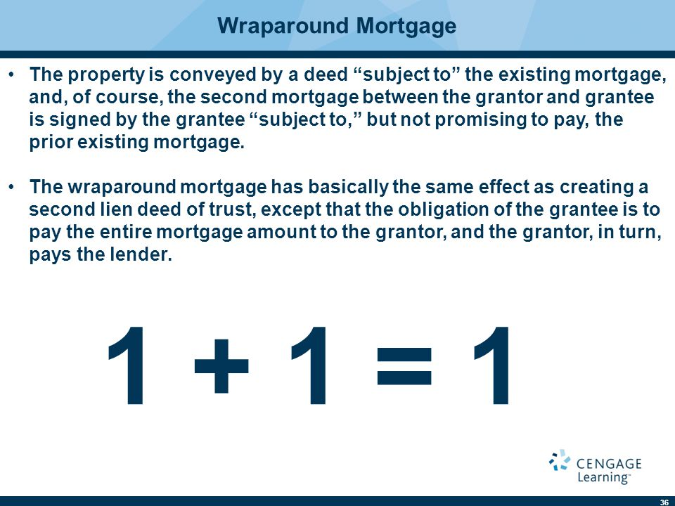 """36 Wraparound Mortgage The property is conveyed by a deed """"subject to"""" the existing mortgage, and, of course, the second mortgage between the grantor"""