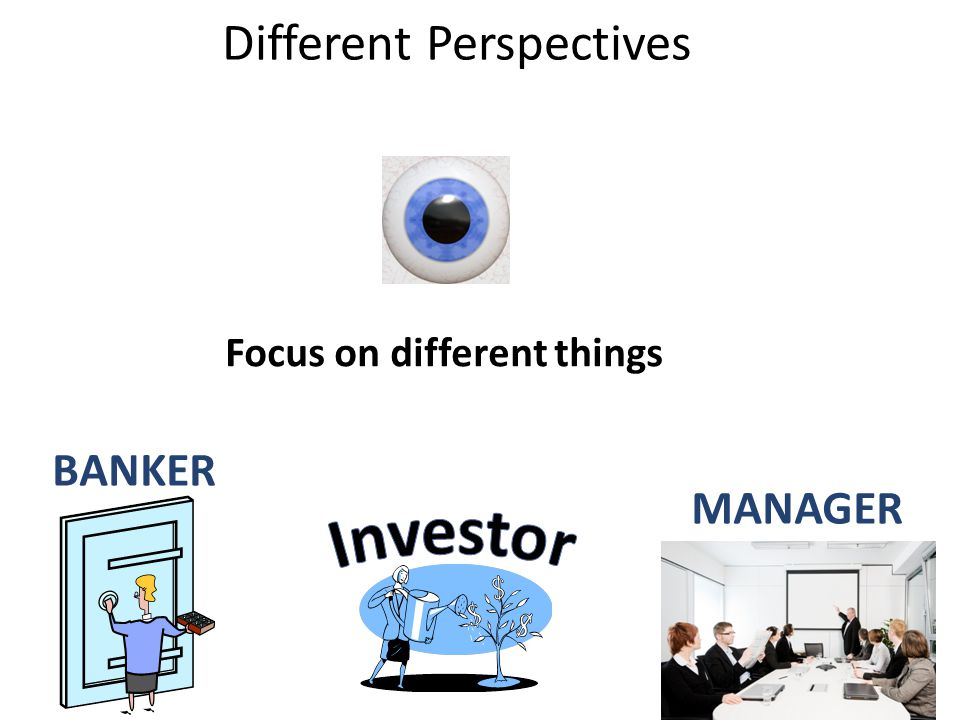 BANKER MANAGER Focus on different things Different Perspectives