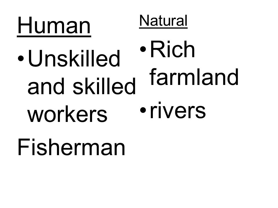 Human Unskilled and skilled workers Fisherman Natural Rich farmland rivers