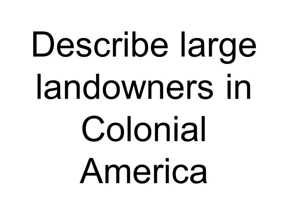 Describe large landowners in Colonial America