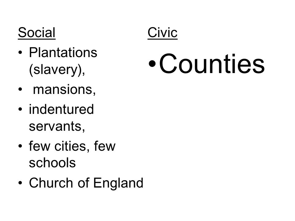 Social Plantations (slavery), mansions, indentured servants, few cities, few schools Church of England Civic Counties