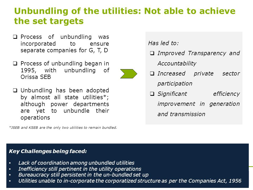 14 Unbundling of the utilities: Not able to achieve the set targets  Process of unbundling was incorporated to ensure separate companies for G, T, D  Process of unbundling began in 1995, with unbundling of Orissa SEB  Unbundling has been adopted by almost all state utilities*; although power departments are yet to unbundle their operations *JSEB and KSEB are the only two utilities to remain bundled.