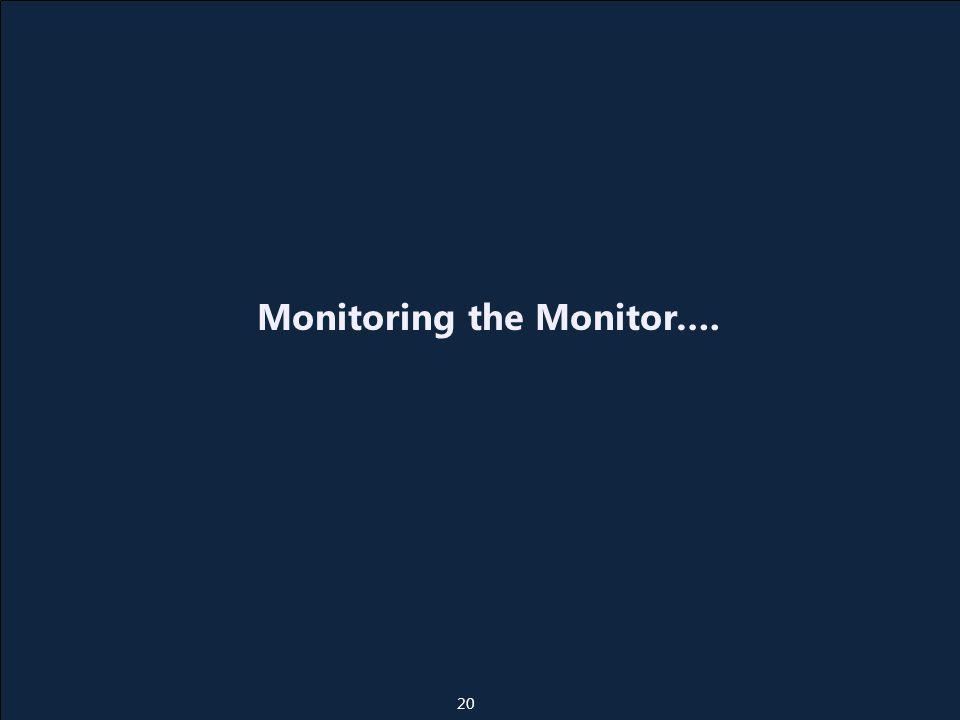 Monitoring the Monitor…. 20