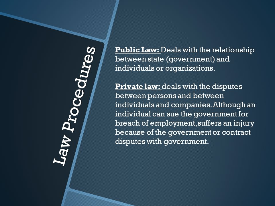 Law Procedures Public Law: Deals with the relationship between state (government) and individuals or organizations.