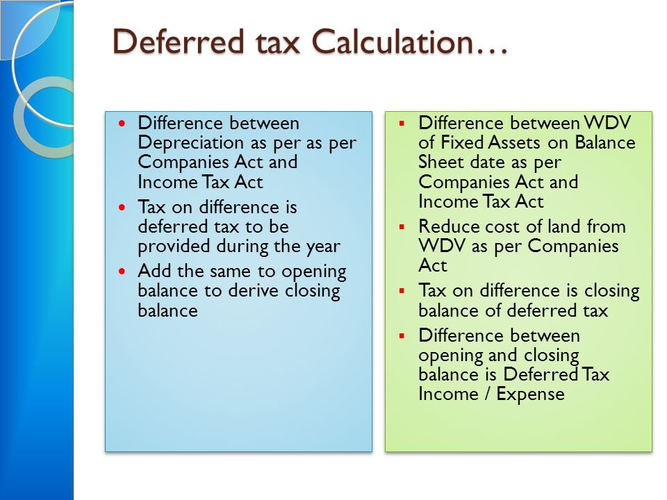 Deferred tax Calculation… Difference between Depreciation as per as per Companies Act and Income Tax Act Tax on difference is deferred tax to be provi