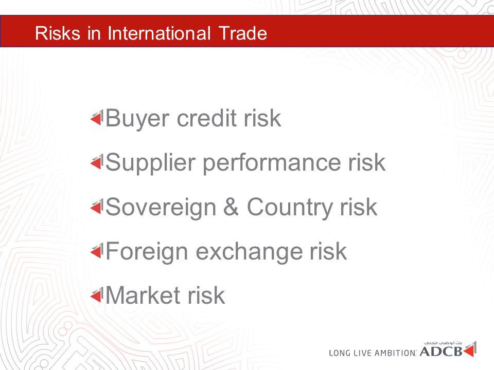Risks in International Trade Buyer credit risk Supplier performance risk Sovereign & Country risk Foreign exchange risk Market risk