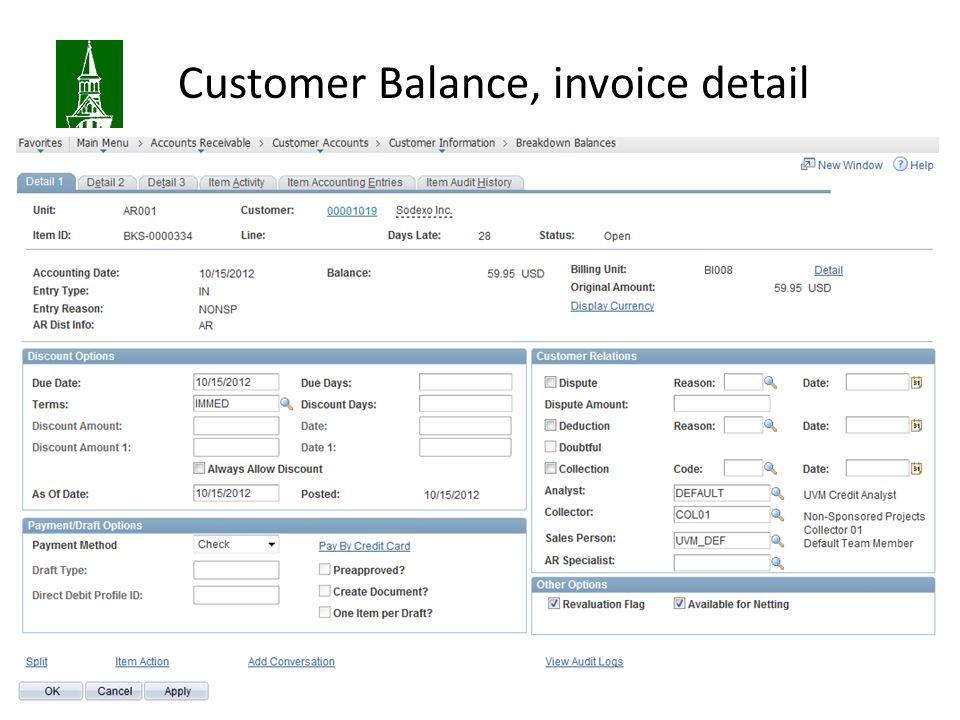 Customer Balance, invoice detail