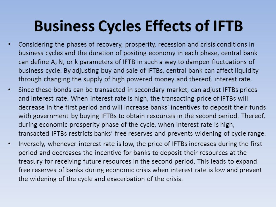 Business Cycles Effects of IFTB Considering the phases of recovery, prosperity, recession and crisis conditions in business cycles and the duration of positing economy in each phase, central bank can define A, N, or k parameters of IFTB in such a way to dampen fluctuations of business cycle.