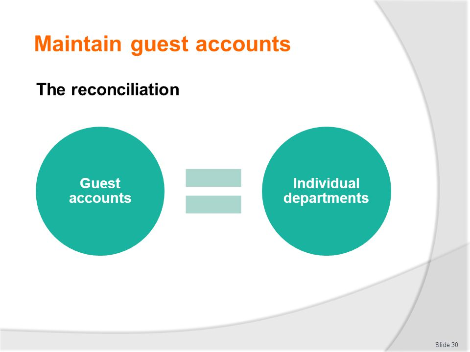 Maintain guest accounts Slide 30 The reconciliation Guest accounts Individual departments