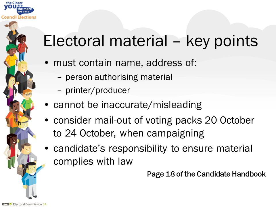 Electoral material – key points must contain name, address of: –person authorising material –printer/producer cannot be inaccurate/misleading consider