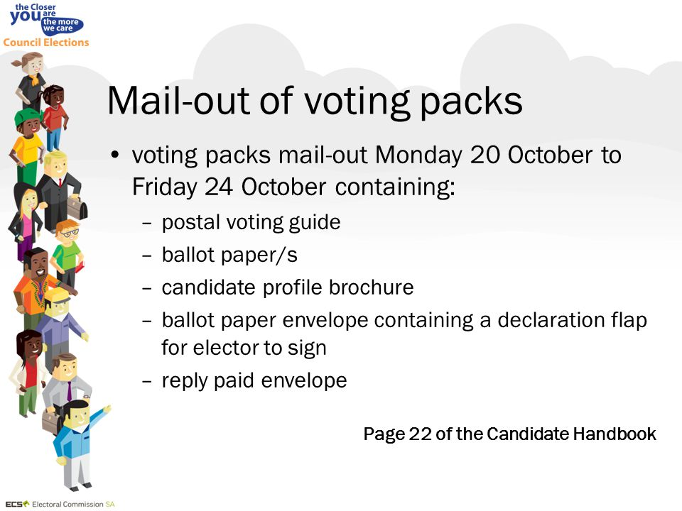 Mail-out of voting packs voting packs mail-out Monday 20 October to Friday 24 October containing: –postal voting guide –ballot paper/s –candidate prof