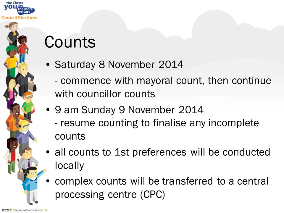 Counts Saturday 8 November 2014 - commence with mayoral count, then continue with councillor counts 9 am Sunday 9 November 2014 - resume counting to f