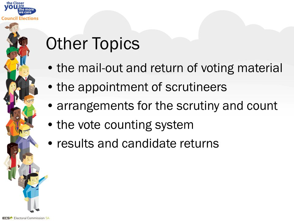 Voting preferential vote – must mark preferences on the ballot paper for at least the number of candidates to be elected eg –mayoral election, must mark at least 1 preference on the ballot paper –3 vacancies, must mark at 1, 2 and 3 Page 25 of the Candidate Handbook
