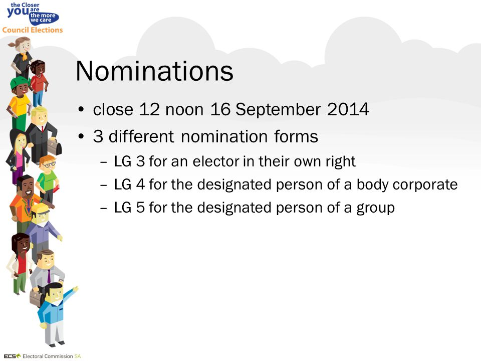 Nominations close 12 noon 16 September 2014 3 different nomination forms –LG 3 for an elector in their own right –LG 4 for the designated person of a