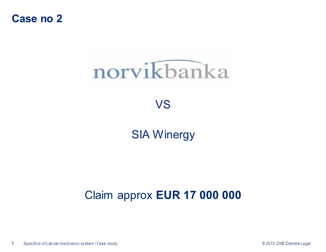 © 2013 ZAB Deloitte Legal Case no 2 June 2013: SIA Winergy filed for Legal Protection Proceeding September 2013: The court rejected the LPP plan November 2013: SIA Winergy went to insolvency proceeding 8Specifics of Latvian Insolvency system | Case study