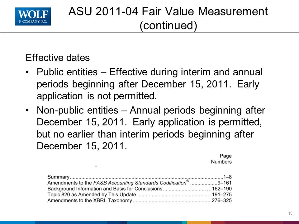 ASU 2011-04 Fair Value Measurement (continued) Effective dates Public entities – Effective during interim and annual periods beginning after December