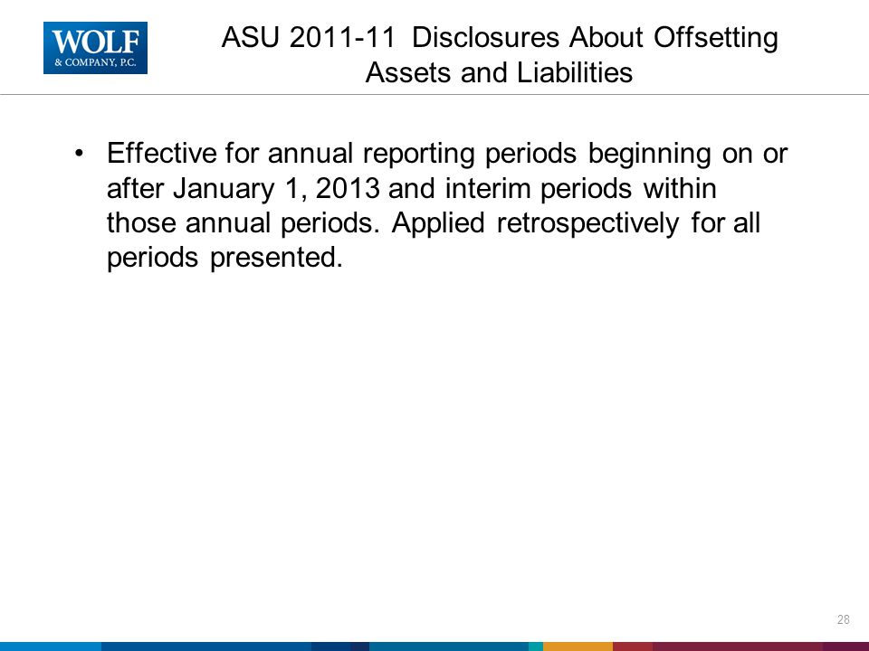 ASU 2011-11 Disclosures About Offsetting Assets and Liabilities Effective for annual reporting periods beginning on or after January 1, 2013 and interim periods within those annual periods.