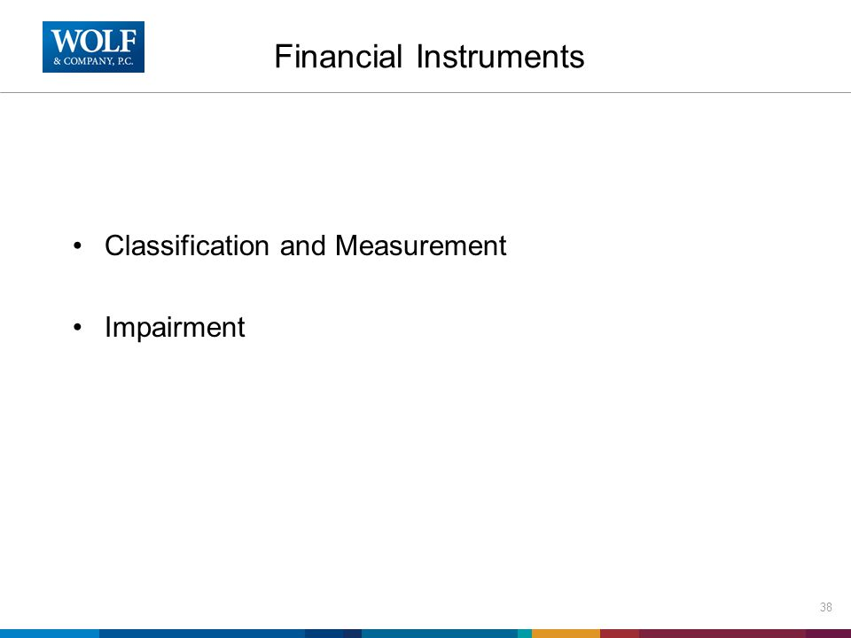 Financial Instruments Classification and Measurement Impairment 38
