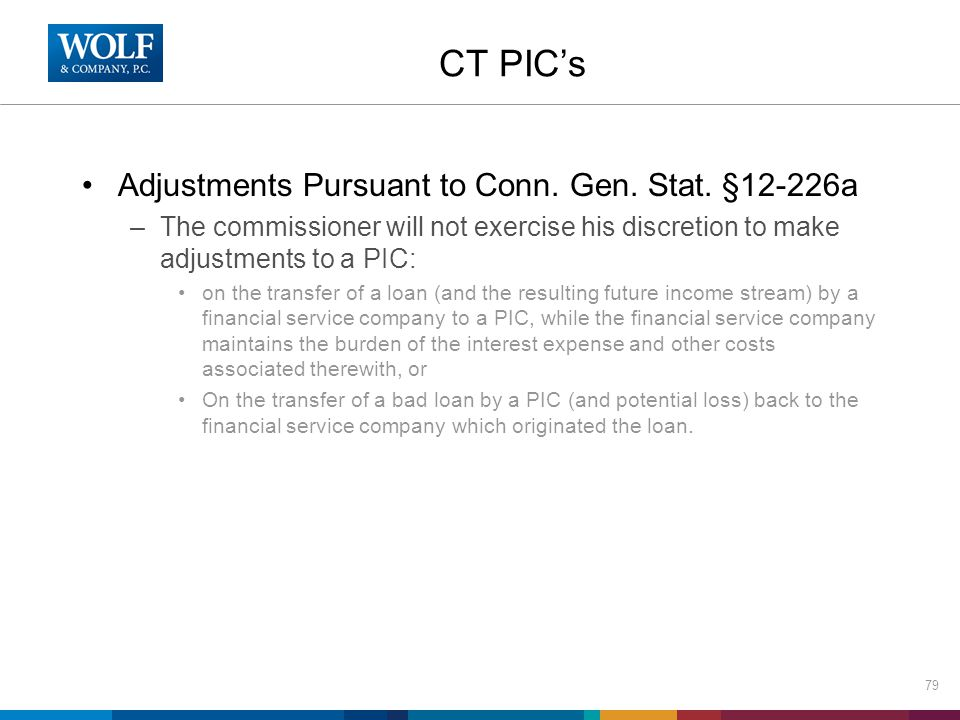 CT PIC's Adjustments Pursuant to Conn. Gen. Stat.