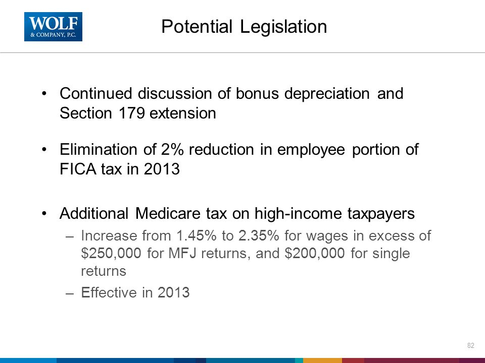 Potential Legislation Continued discussion of bonus depreciation and Section 179 extension Elimination of 2% reduction in employee portion of FICA tax