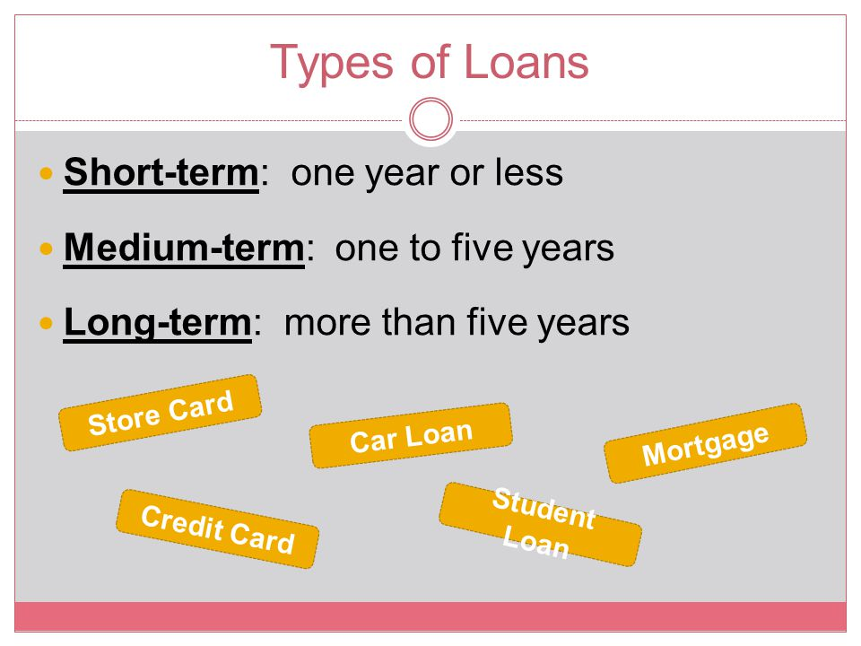Types of Loans Short-term: one year or less Medium-term: one to five years Long-term: more than five years Store Card Credit Card Student Loan Car Loa