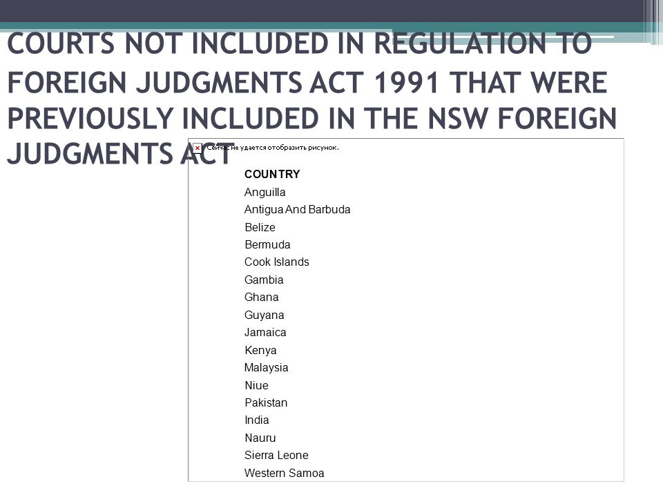 COURTS NOT INCLUDED IN REGULATION TO FOREIGN JUDGMENTS ACT 1991 THAT WERE PREVIOUSLY INCLUDED IN THE NSW FOREIGN JUDGMENTS ACT COUNTRY Anguilla Antigu