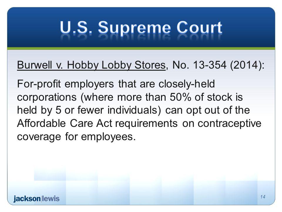 Burwell v. Hobby Lobby Stores, No.