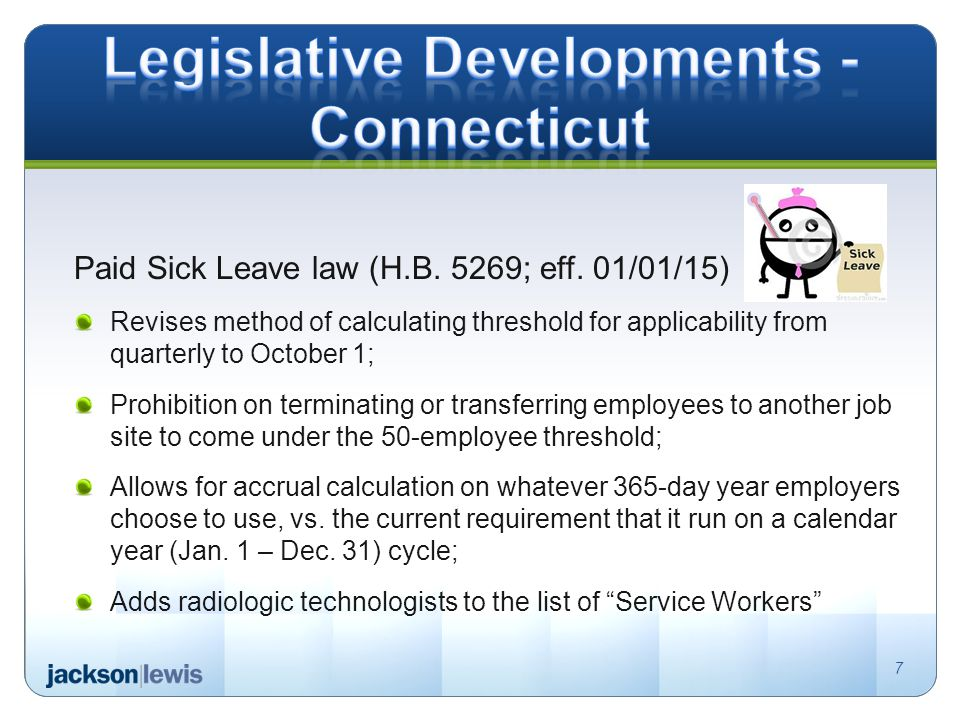 Paid Sick Leave law (H.B. 5269; eff.