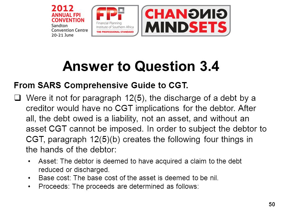 50 Answer to Question 3.4 From SARS Comprehensive Guide to CGT.