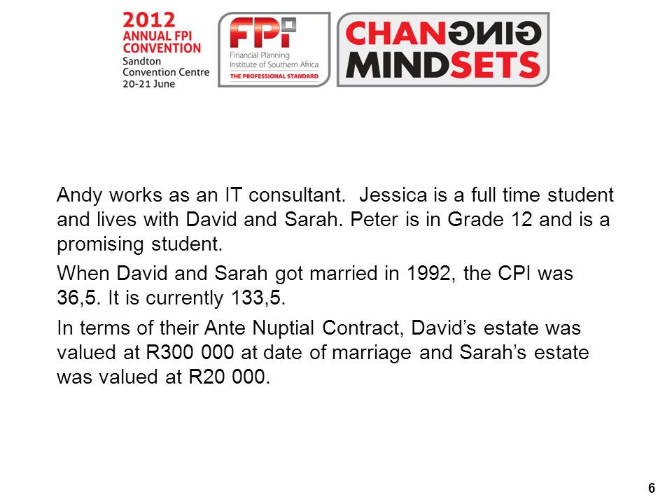 37 Answer to Question 2.1.1 David=300 000÷36.5  133.5=R1 097 260 Sarah=20 000÷36.5  133.5=R73 151  The inflation adjusted values of the estates at date of marriage are as follows: